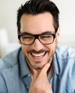 Funny mature man with a beautiful smile from gum rejuvenation treatment